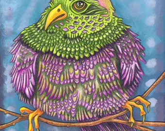 """Beautiful Bird 14 - an 8 x 10"""" ART PRINT of a plump and fluffly grape purple and lime green bird who is bending his branch every so slightly"""