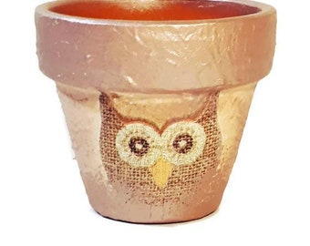 Flower pots owl garden decor home decor handpainted  centerpiece table decor gift for her, gift for mother, for wife, for girlfriend