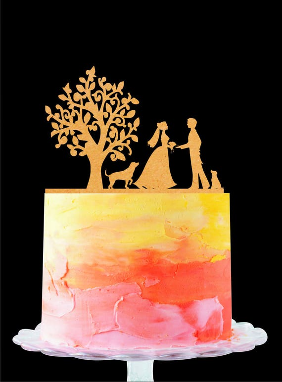 Silhouette Wedding Cake Topper Tree Cake Topper Mr and Mrs