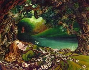 Awakening Beltane Spring Forest Goddess Art 8x10 Print Pagan Mythology Psychedelic Bohemian Gypsy Goddess Art