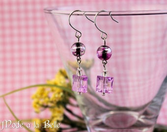 Purple Square facet, glass bead - simple drop earrings