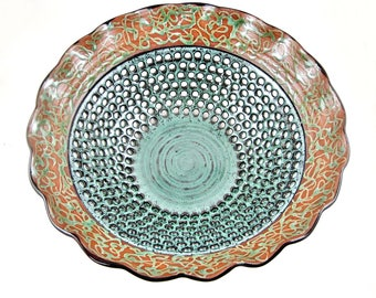 Pottery fruit bowl, Large ceramic centerpiece for dinning table - In stock 227FB