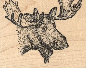Moose Portrait Rubber Stamp K29111 Wood Mounted