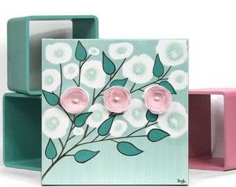 Canvas Art, Teal and Pink Painting of Flowers, Small Wall Art Gift for Girl - 10x10