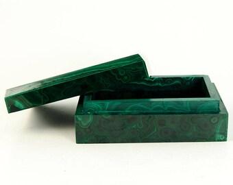 Malachite Jewelry Box (Congo, #9197) 3.5 inches wide