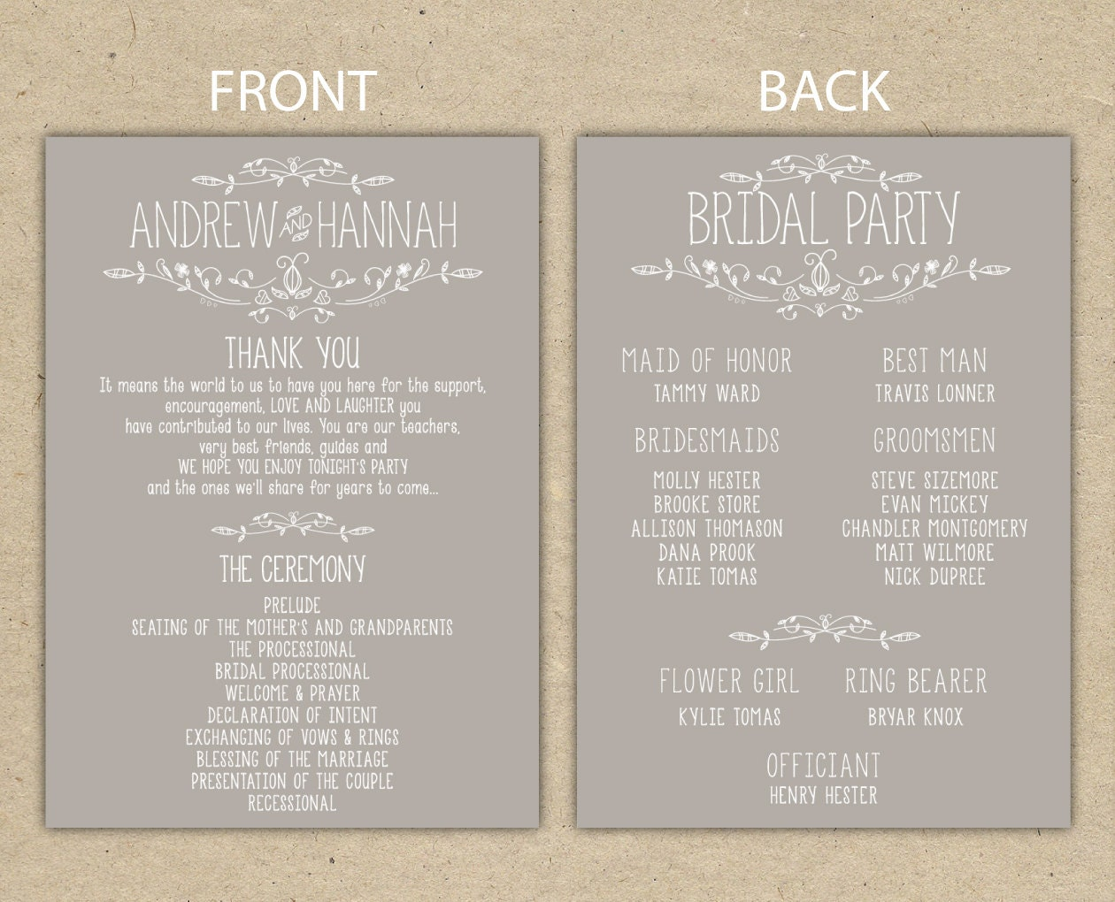 Wedding Program Wedding Reception Wedding Thank You - Free downloadable wedding program templates