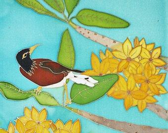 Hand Painted Silk Wall Hanging 16x20 - Hawaiian Mynah Bird in Plumeria Tree, Christmas, Birthday