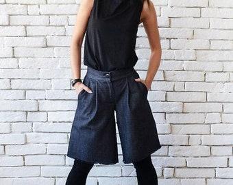 SALE Denim Loose Pants/Wide Leg Shorts/Casual Blue Pants/Short Everyday Trousers/Denim Maxi Pants/Plus Size Denim Shorts/Oversize Short Pant