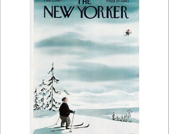 "Vintage The New Yorker Magazine Cover Poster Print Art, 1957 Matted to 11"" x 14"", Item 4042, Skiing"