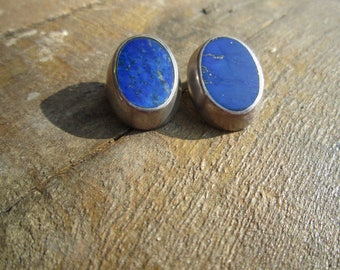 Lapis Lazuli and Sterling Clip Earrings
