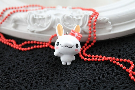 White bunny rabbit  Kawaii long Necklace Gothic Lolita red chain