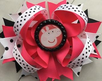 Peppa Pig Hair Bow Peppa Pig Party Peppa Pig Birthday Peppa Pig Hair Clip Peppa Pig Outfit Peppa Pig Girls Nick Jr Character Hair Bow