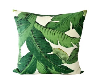 Palm leaf Decorative Pillow. Tommy Bahama Throw Pillow. Green White Pillow Cover. Indoor Outdoor Cushion.