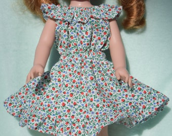 Pretty off white peasant style dress in a red strawberry and blue flower print fits 14.5 inch dolls