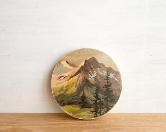 Paint by Number Circle Art Block 'Mountain High' -  vintage landscape