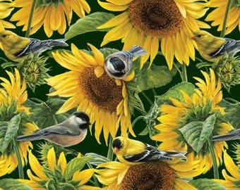 David Textiles - Sunflowers and Birds - Multi - Fabric by the Yard WW30525C1