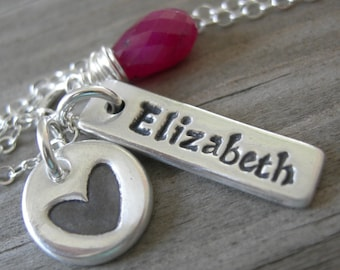 Personalized Tag Love Cluster Necklace Silver PMC Sterling Birthstone Jewelry Mothers Day
