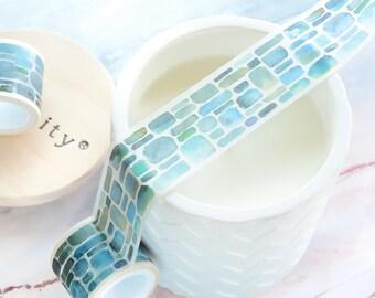 Watercolor Aqua Blue Brick Wall Wide Washi Tape 30mm/ Wide Masking Tape/ Bullet Journal Washi Decorative Tape