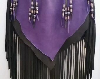 "Leather Purse ""PURPLE-ISIOUS!"" Fringed Handbag Purple Deerskin Artisan Hippie Retro Beaded Bag Handmade by Debbie Leather"