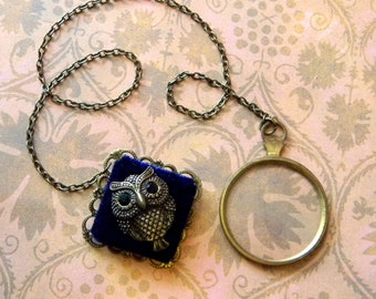 True Antique Steampunk Glass Costume Monocle w/Chain Lanyard Attached to Victorian Style Owl Lapel Pin. Perfect For NeoVictorian Cosplay!