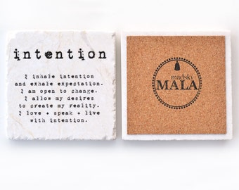 Meditation Coaster, Intention Reminder for Altar or Shrine, Italian Marble, Yoga Gift, Daily Mantra trinket for Resolve and Change