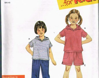 Size 3-8 Girls Boys Easy Sewing Pattern - Pull On Cargo Pants Pattern - Pull on Cargo Shorts Pattern - Hooded Top Pattern - SImplicity 9170
