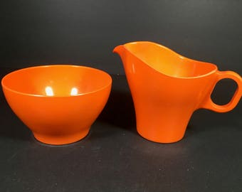 ON SALE Boontonware Somerset Creamer and Sugar Bowl Bright Orange Color from the 1960s!