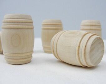 Wooden barrel, dollhouse barrel,  pickle barrel, dollhouse miniature set of 6 (larger of 2 available sizes)