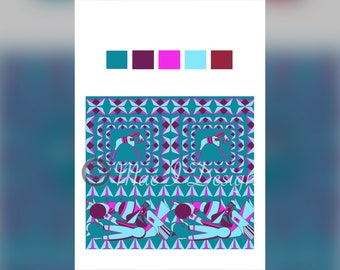 Aqua Imagination | African Fabric | Fabric by the Yard | African Print Fabric | Drawn Fabric Design | Quilting Cotton