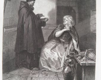 Shakespeare Romeo and Juliet by EM Ward Antique Art Print