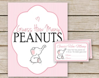 Pink Elephant Baby Shower Peanut Guessing Game - Guess How Many Peanuts Game - Printable Download - Elephant Peanut Game