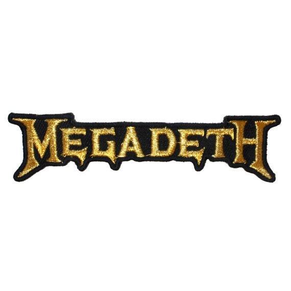 heavy metal music megadeth gold band logo rh etsy com megadeth logo svg megadeth logo back patch