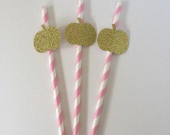 10 Little Pumpkins on Straws - Gold Glitter - Little Pumpkin First Birthday - 1st Birthday Party Decorations - Little Pumpkin Baby Shower