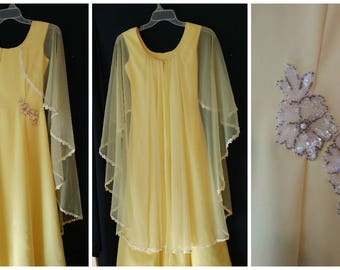 Vintage Gown Dress Ann's Vogue Shoppe Size Small Yellow sheer overlay