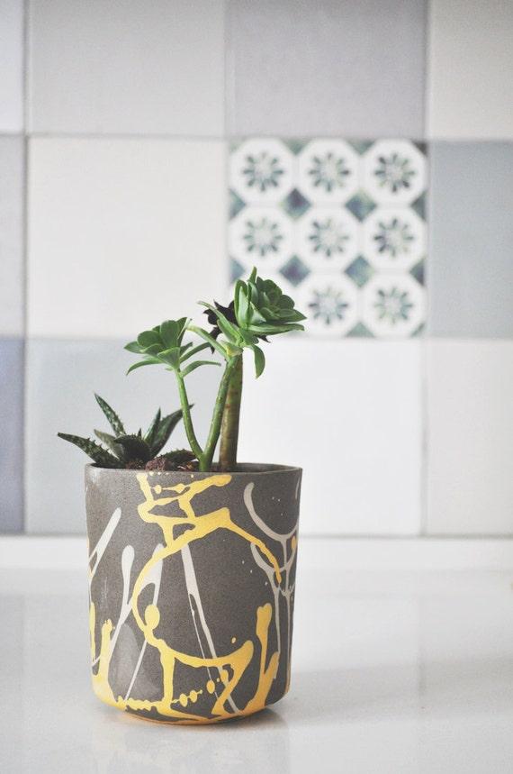 Modern Planter Ceramic Planter Paint Splatter Succulent