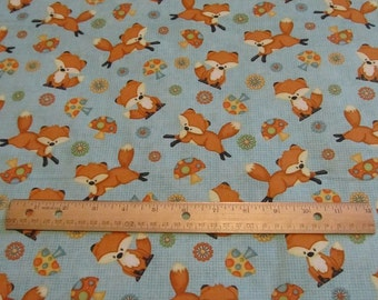 44 x 43 Inches Blue Fox Woodland Cotton Fabric