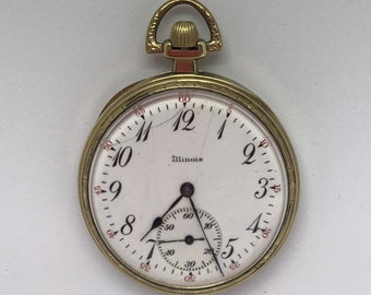 Vintage Illinois Pocket Watch 1920's 17 Jewels Size 12  Runs # 86