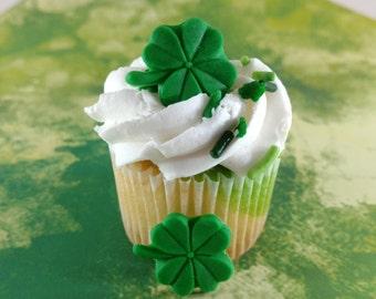 Edible Fondant Four Leaf Clover-Fondant Shamrock-Set of 12-Cake/Cupcake Decorations