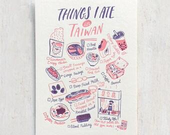 Things I Ate in Taiwan Letterpress Postcard