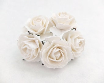White roses - 5 35mm white paper roses - white paper flowers (style 1)