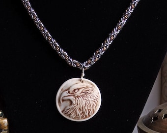 Handmade chainmaile necklace with relief carved porcelain eagle pendant