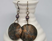 Textured Bronze Verdigris earrings | wave pattern dangles on bronze wire | mixed media jewelry