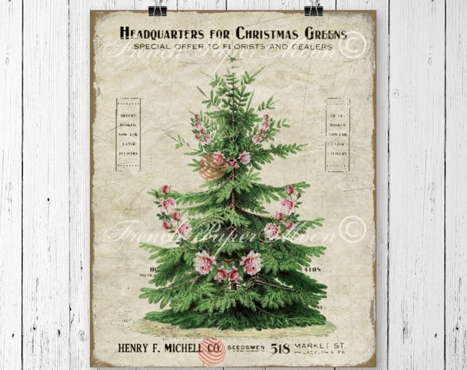 Shabby Vintage Digital Christmas Tree with Roses, Christmas Graphic, Christmas Tree Download