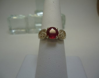 Round Cut Ruby Ring in Sterling Silver   #948
