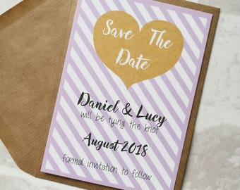 Kraft Heart and Pastel Stripe Save The Date