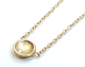 Gold and Diamond Coin Necklace, Gold Coin Necklace, Gold Disk Necklace, Tiny Gold Necklace, Delicate Gold Necklace, Petite Gold Coin, Nixin