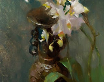 Orchids and Bronze Vase - original oil painting, alla prima oil painting, one of a kind
