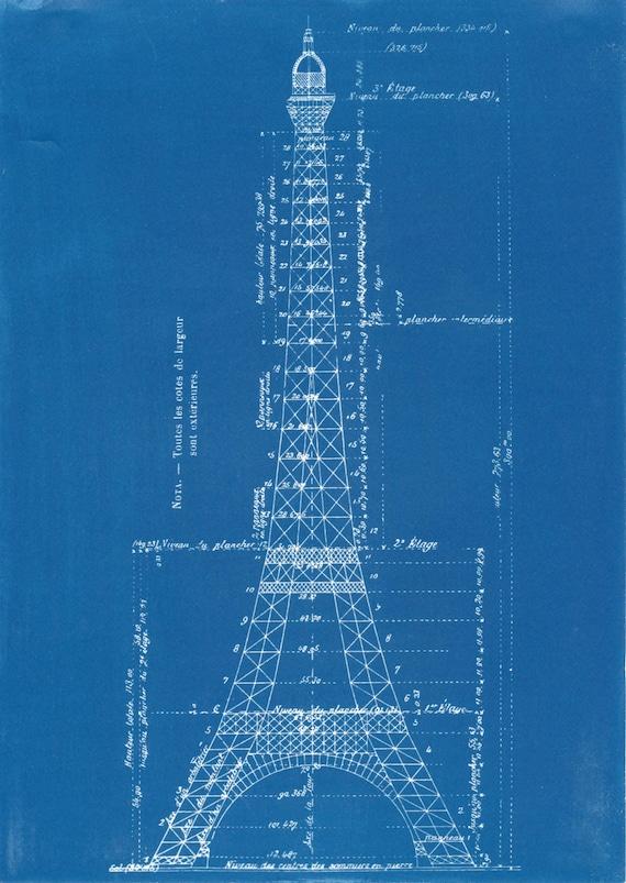 Eiffel tower blueprint cyanotype malvernweather Image collections