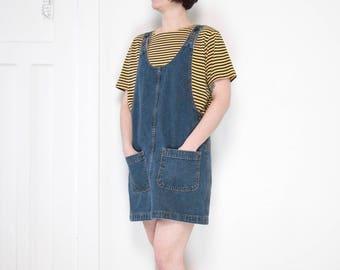 90s Denim Jumper Dress / Size Medium