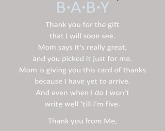 Owl Baby Shower Thank You Card - You Print - 4x6 or 5x7